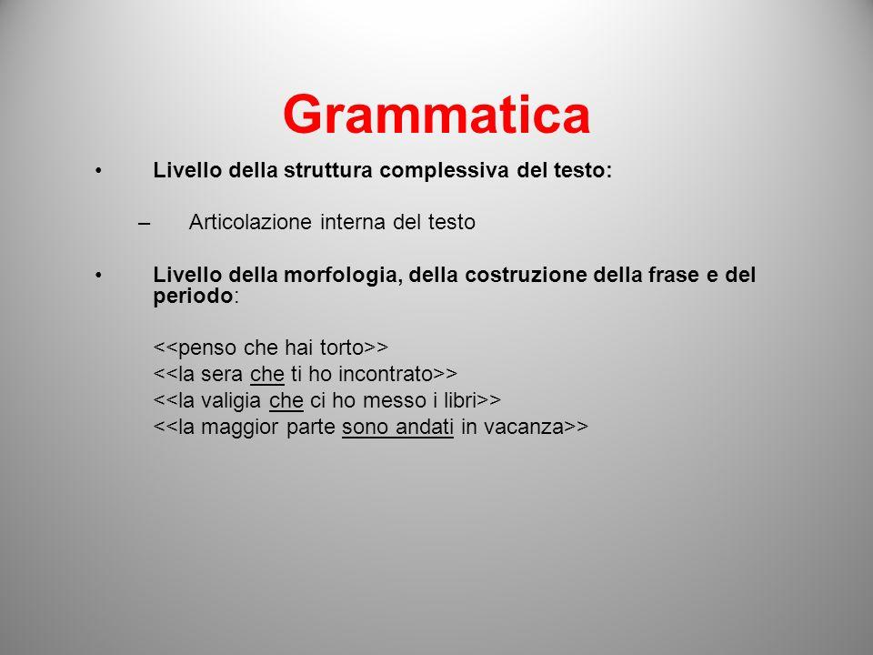 Grammatica Livello della struttura complessiva del testo: –Articolazione interna del testo Livello della morfologia, della costruzione della frase e d
