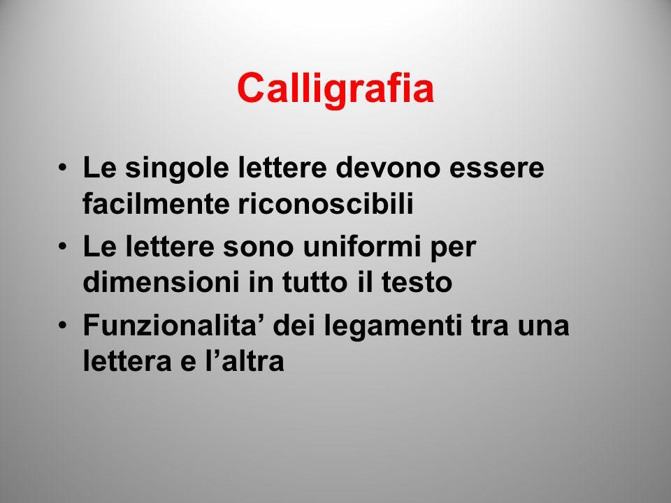 Calligrafia Le singole lettere devono essere facilmente riconoscibili Le lettere sono uniformi per dimensioni in tutto il testo Funzionalita dei legam