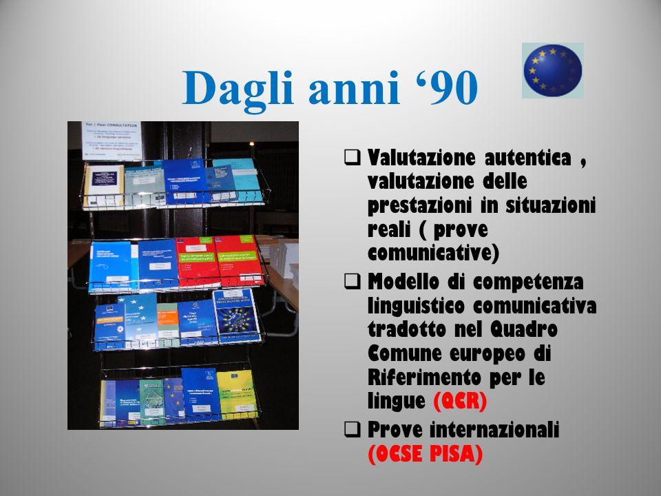 Dagli anni 90 Valutazione autentica, valutazione delle prestazioni in situazioni reali ( prove comunicative) Modello di competenza linguistico comunic