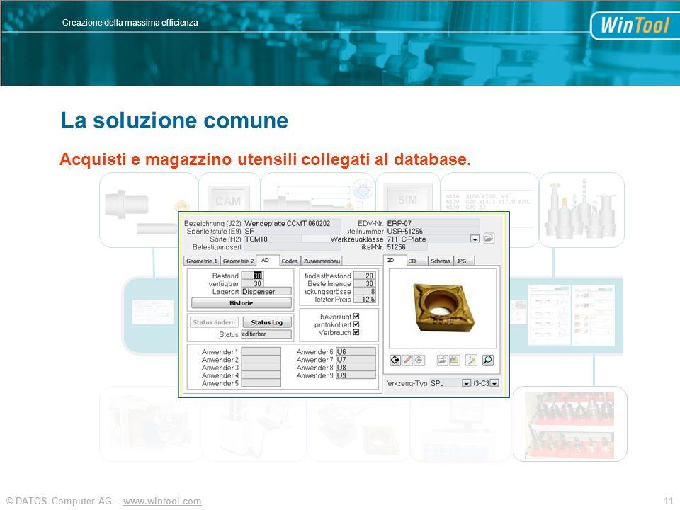 11© DATOS Computer AG – www.wintool.com Creazione della massima efficienza WinTool Integration und Vereinfachung SIM CAM Acquisti e magazzino utensili