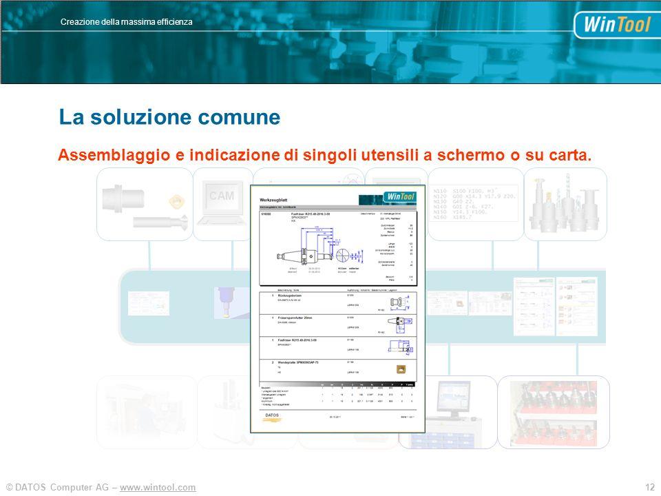 12© DATOS Computer AG – www.wintool.com Creazione della massima efficienza WinTool Integration und Vereinfachung SIM CAM Assemblaggio e indicazione di