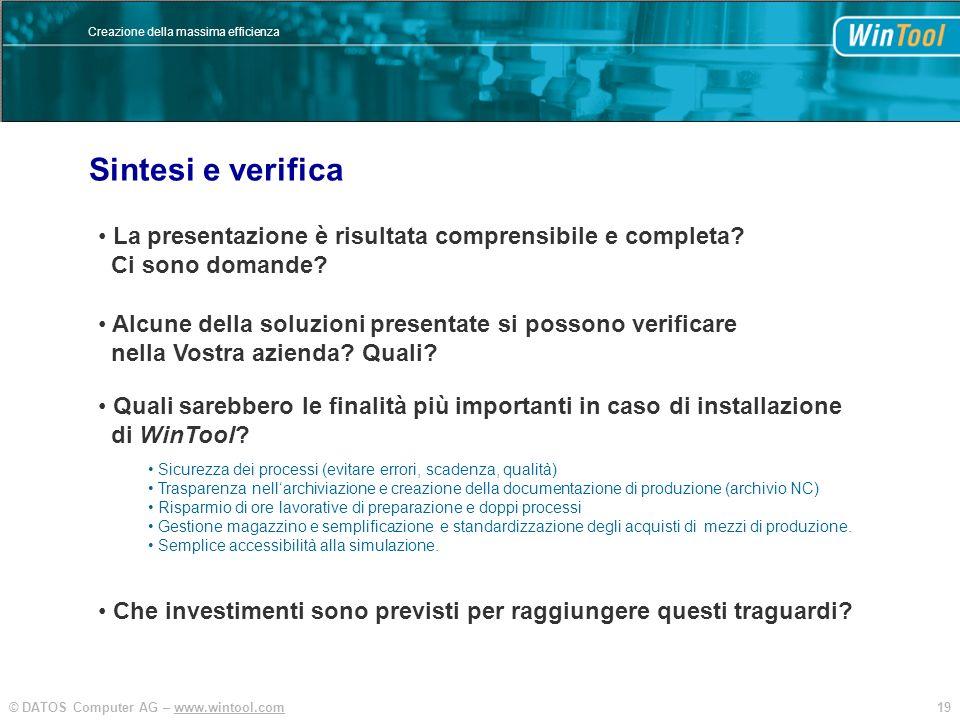 19© DATOS Computer AG – www.wintool.com Creazione della massima efficienza La presentazione è risultata comprensibile e completa? Ci sono domande? Sin