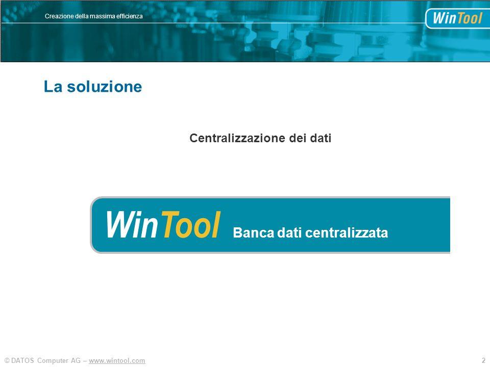 2© DATOS Computer AG – www.wintool.com Creazione della massima efficienza La soluzione WinTool Banca dati centralizzata Centralizzazione dei dati