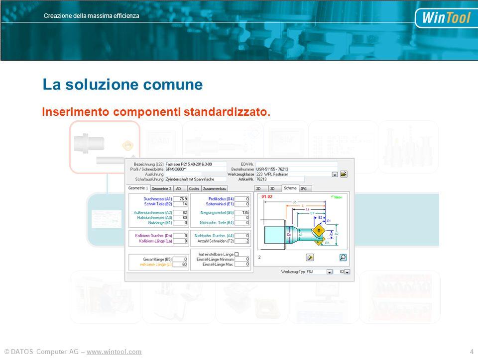 4© DATOS Computer AG – www.wintool.com Creazione della massima efficienza La soluzione comune SIM CAM Inserimento componenti standardizzato. WinTool B