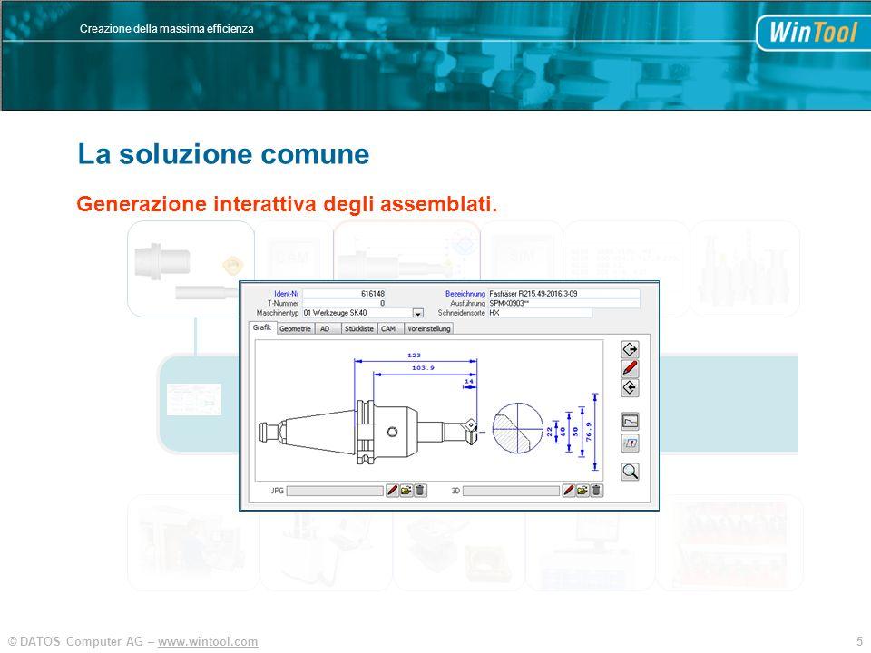 5© DATOS Computer AG – www.wintool.com Creazione della massima efficienza WinTool Integration und Vereinfachung SIM CAM Generazione interattiva degli