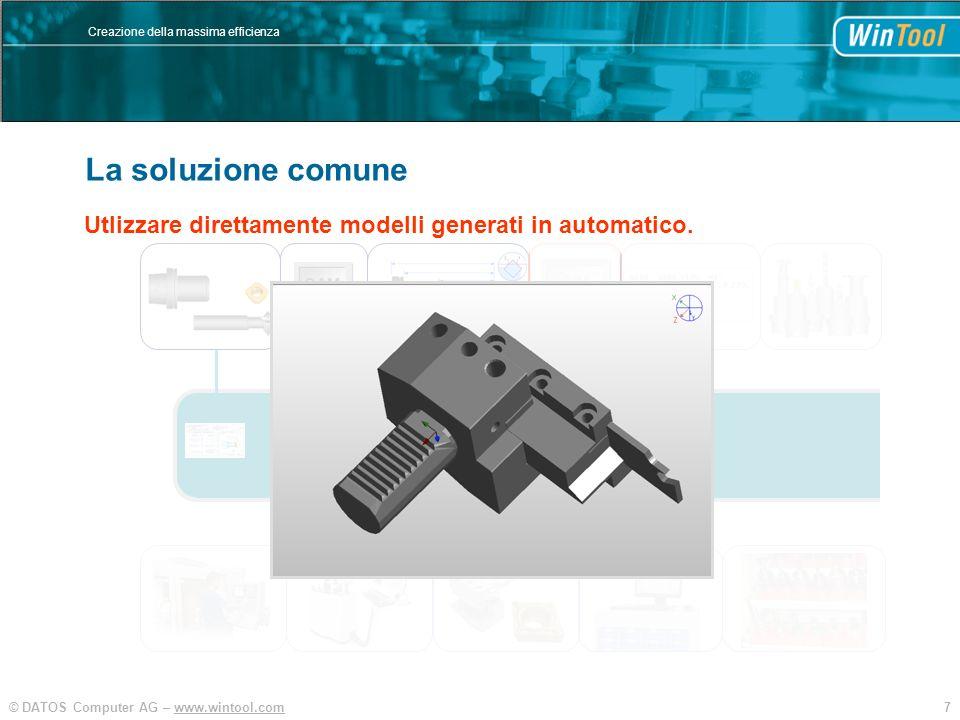 7© DATOS Computer AG – www.wintool.com Creazione della massima efficienza WinTool Integration und Vereinfachung SIM CAM Utlizzare direttamente modelli