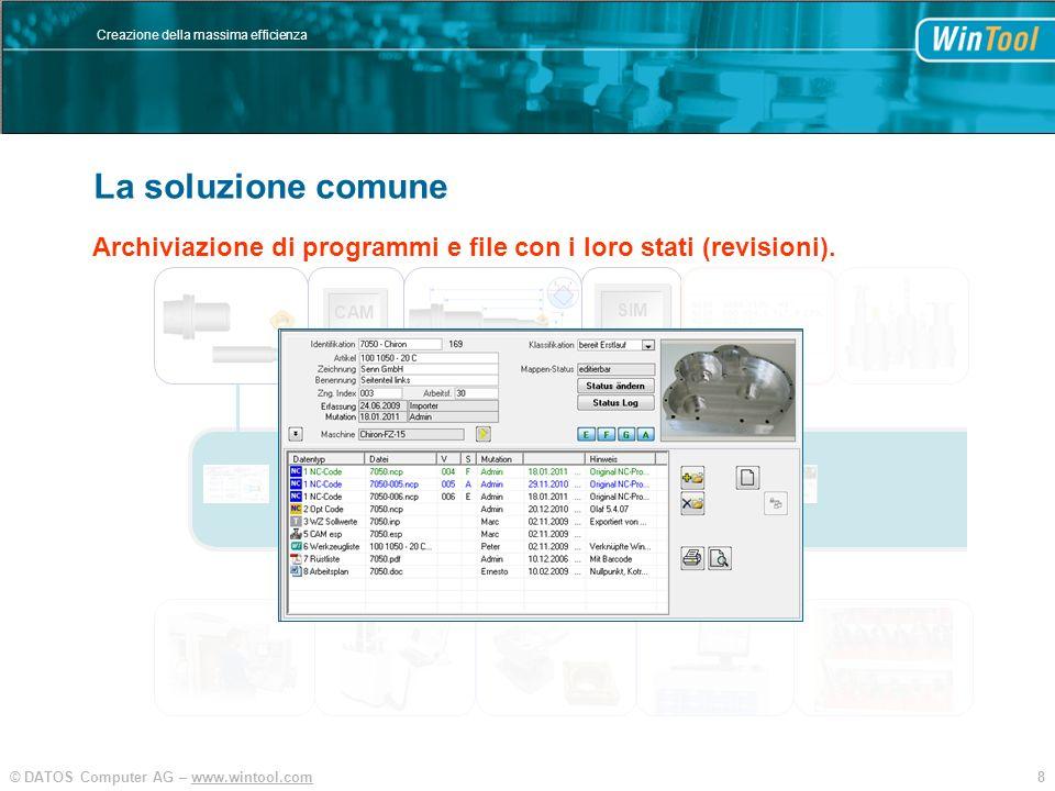 8© DATOS Computer AG – www.wintool.com Creazione della massima efficienza WinTool Integration und Vereinfachung SIM CAM Archiviazione di programmi e f