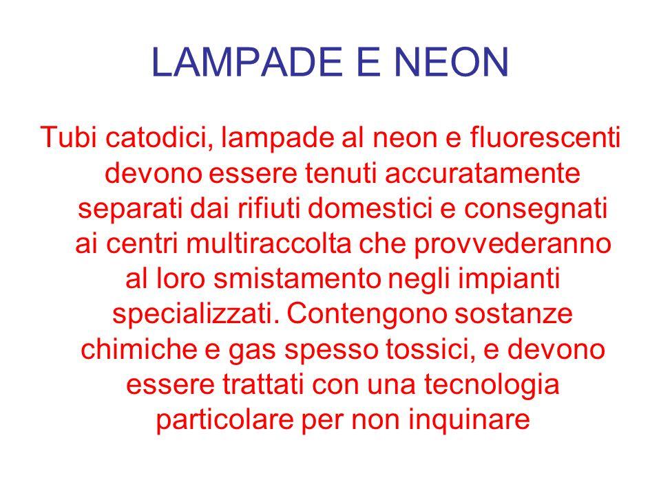 LAMPADE E NEON Tubi catodici, lampade al neon e fluorescenti devono essere tenuti accuratamente separati dai rifiuti domestici e consegnati ai centri