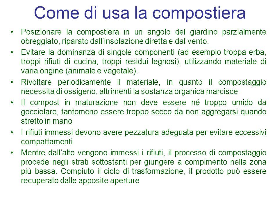 Come di usa la compostiera Posizionare la compostiera in un angolo del giardino parzialmente obreggiato, riparato dallinsolazione diretta e dal vento.