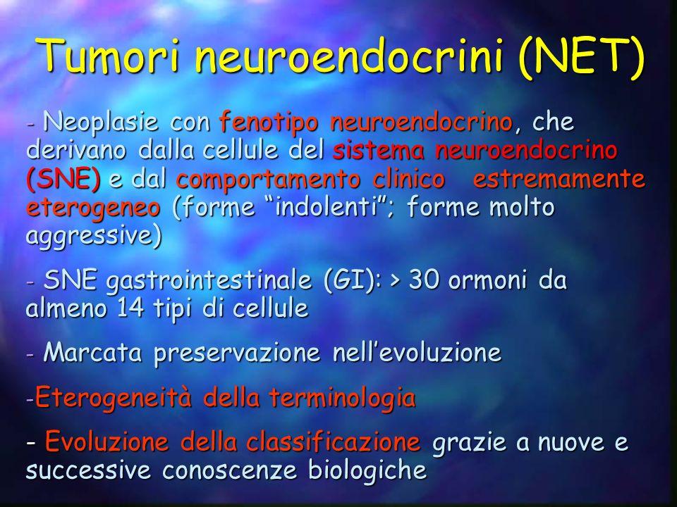 Tumori neuroendocrini (NET) - Neoplasie con fenotipo neuroendocrino, che derivano dalla cellule del sistema neuroendocrino (SNE) e dal comportamento c