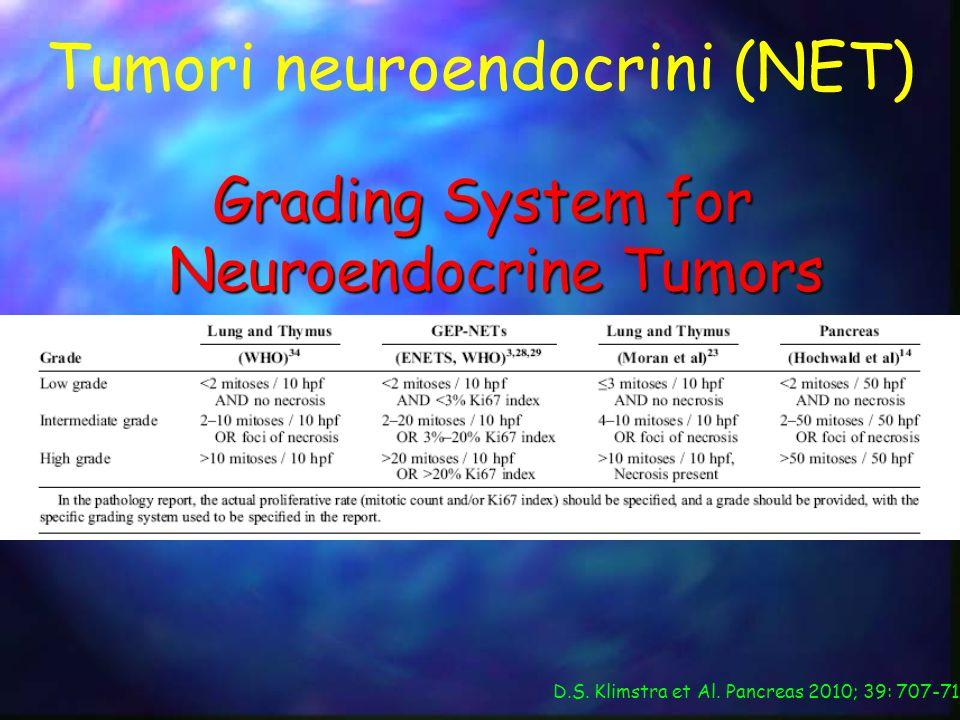 Tumori neuroendocrini (NET) Grading System for Neuroendocrine Tumors D.S. Klimstra et Al. Pancreas 2010; 39: 707-712