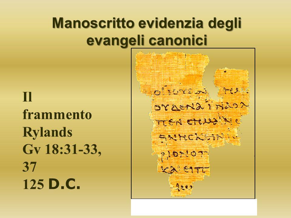 Il frammento Rylands Gv 18:31-33, 37 125 D.C. Manoscritto evidenzia degli evangeli canonici