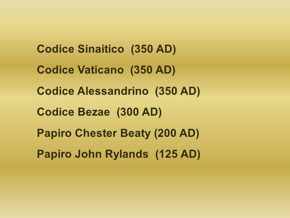 Codice Sinaitico (350 AD) Codice Vaticano (350 AD) Codice Alessandrino (350 AD) Codice Bezae (300 AD) Papiro Chester Beaty (200 AD) Papiro John Ryland