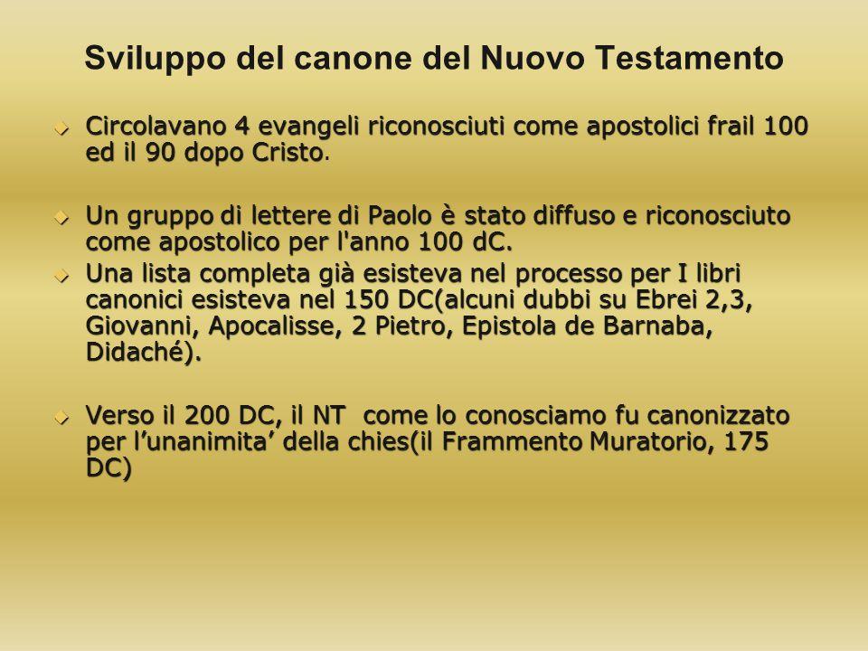 Sviluppo del canone del Nuovo Testamento Circolavano 4 evangeli riconosciuti come apostolici frail 100 ed il 90 dopo Cristo Circolavano 4 evangeli ric