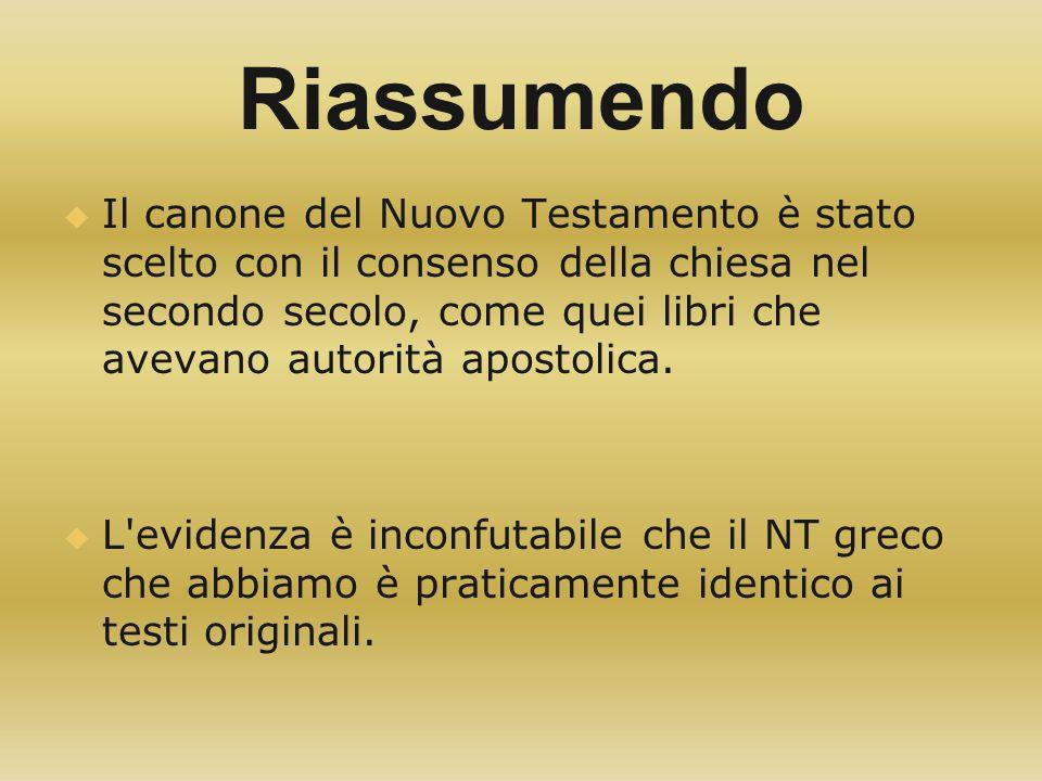 Riassumendo Il canone del Nuovo Testamento è stato scelto con il consenso della chiesa nel secondo secolo, come quei libri che avevano autorità aposto
