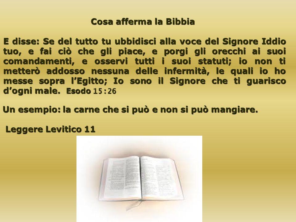 Cosa afferma la Bibbia Cosa afferma la Bibbia E disse: Se del tutto tu ubbidisci alla voce del Signore Iddio tuo, e fai ciò che gli piace, e porgi gli