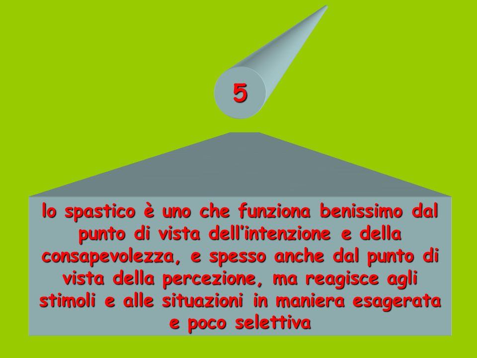 5 lo spastico è uno che funziona benissimo dal punto di vista dellintenzione e della consapevolezza, e spesso anche dal punto di vista della percezion