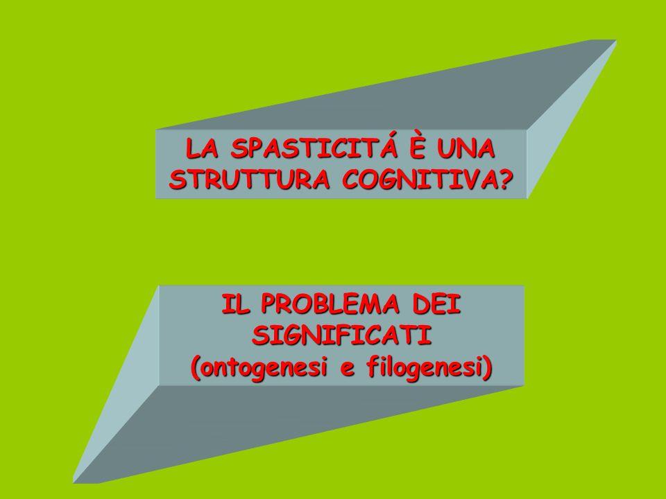 LA SPASTICITÁ È UNA STRUTTURA COGNITIVA? IL PROBLEMA DEI SIGNIFICATI (ontogenesi e filogenesi)