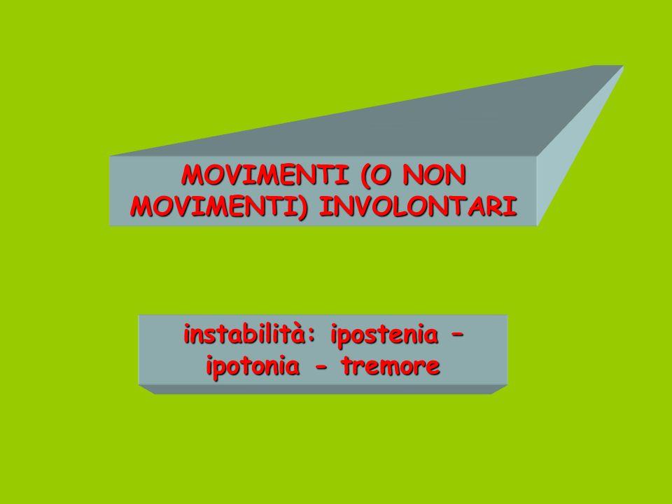MOVIMENTI (O NON MOVIMENTI) INVOLONTARI instabilità: ipostenia – ipotonia - tremore