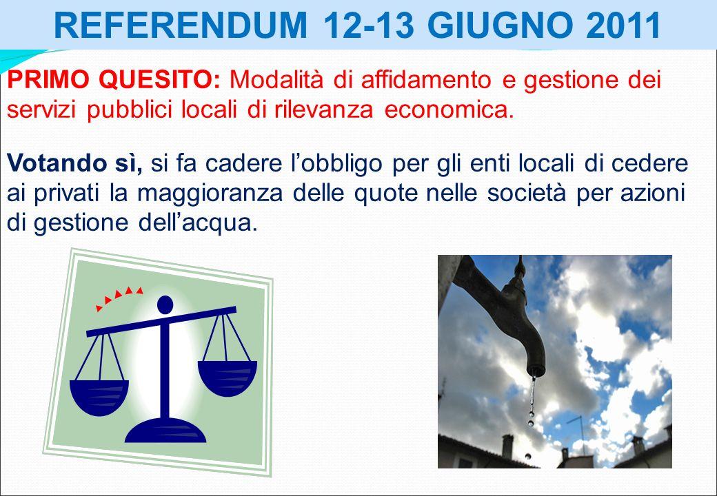 REFERENDUM 12-13 GIUGNO 2011 PRIMO QUESITO: Modalità di affidamento e gestione dei servizi pubblici locali di rilevanza economica. Votando sì, si fa c