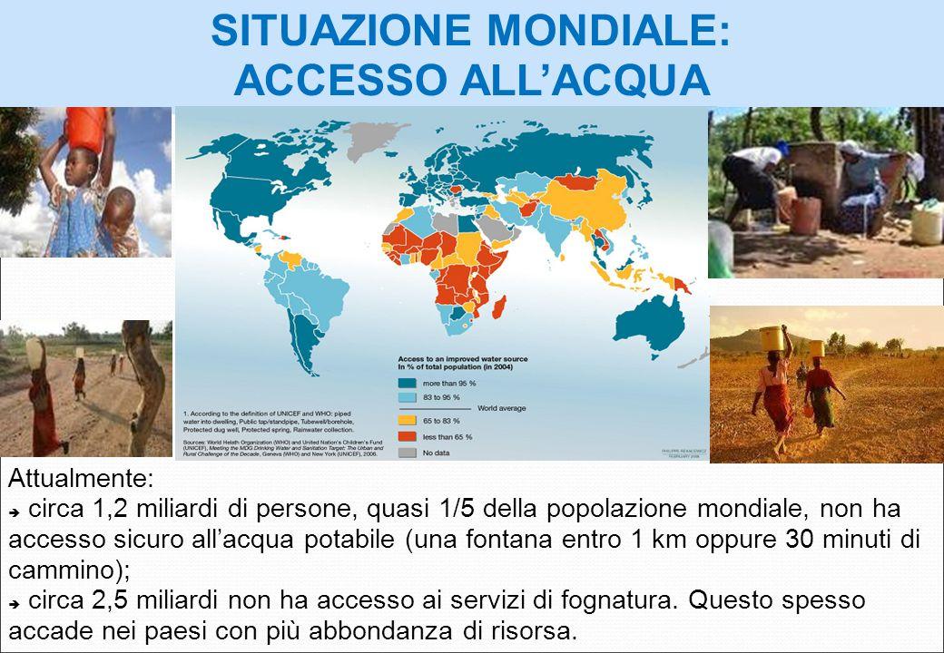 Attualmente: circa 1,2 miliardi di persone, quasi 1/5 della popolazione mondiale, non ha accesso sicuro allacqua potabile (una fontana entro 1 km oppu