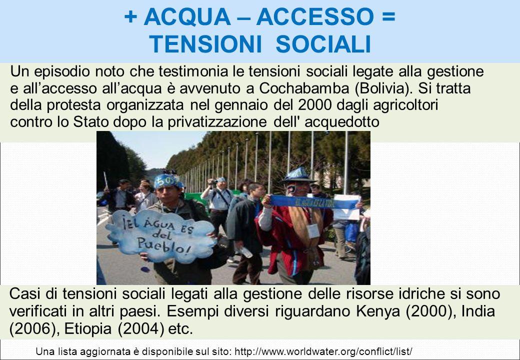 Un episodio noto che testimonia le tensioni sociali legate alla gestione e allaccesso allacqua è avvenuto a Cochabamba (Bolivia). Si tratta della prot