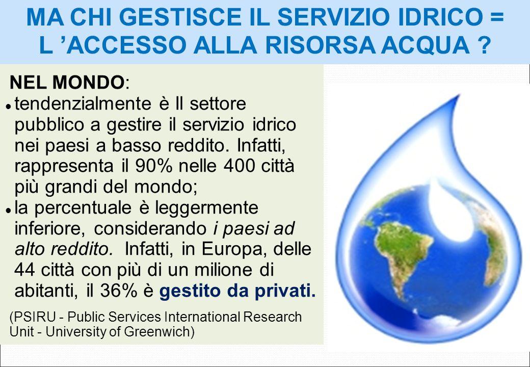 NEL MONDO: tendenzialmente è Il settore pubblico a gestire il servizio idrico nei paesi a basso reddito. Infatti, rappresenta il 90% nelle 400 città p