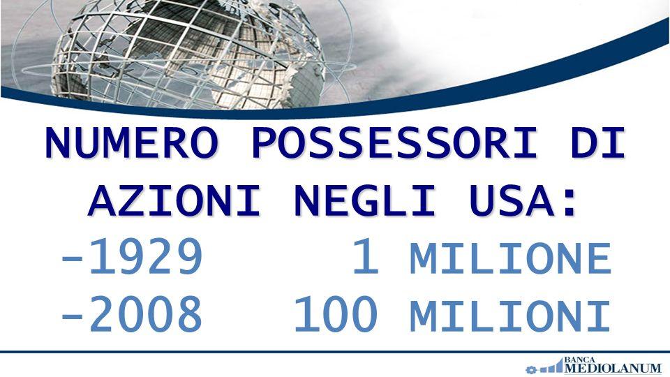 NUMERO POSSESSORI DI AZIONI NEGLI USA: -1929 1 MILIONE -2008 100 MILIONI