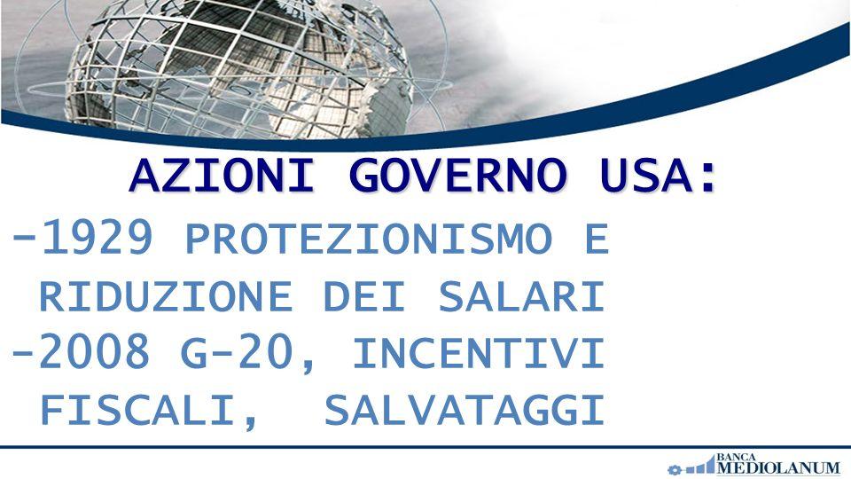 AZIONI GOVERNO USA: - 1929 PROTEZIONISMO E RIDUZIONE DEI SALARI -2008 G-20, INCENTIVI FISCALI, SALVATAGGI