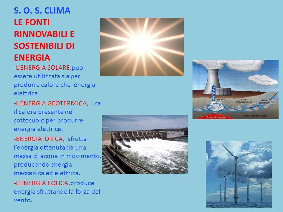 S. O. S. CLIMA LE FONTI RINNOVABILI E SOSTENIBILI DI ENERGIA -LENERGIA SOLARE,può essere utilizzata sia per produrre calore che energia elettrica -LEN