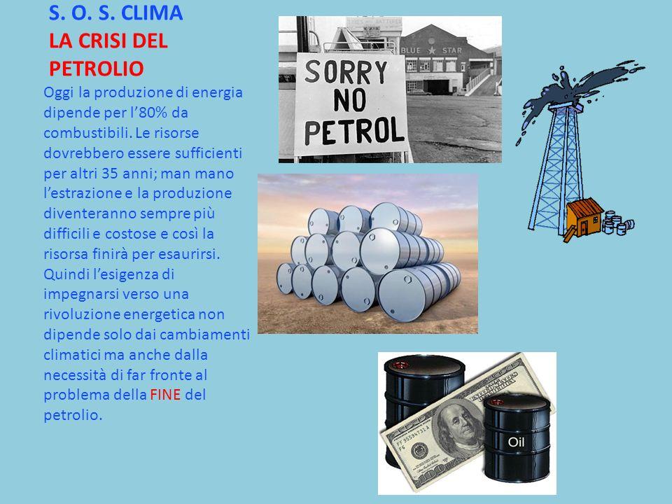 S. O. S. CLIMA LA CRISI DEL PETROLIO Oggi la produzione di energia dipende per l80% da combustibili. Le risorse dovrebbero essere sufficienti per altr