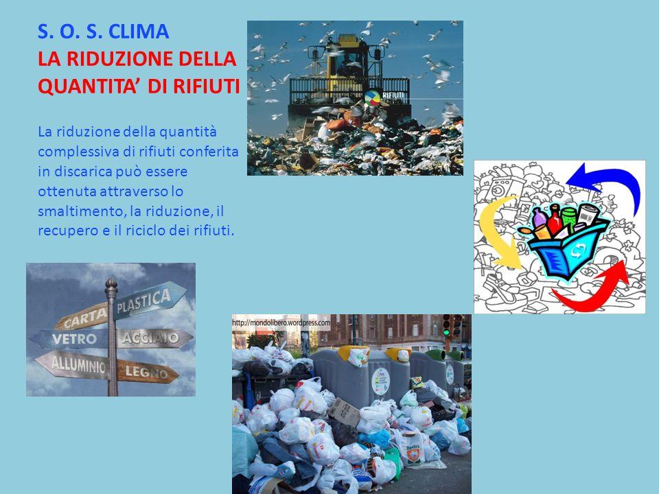 S. O. S. CLIMA LA RIDUZIONE DELLA QUANTITA DI RIFIUTI La riduzione della quantità complessiva di rifiuti conferita in discarica può essere ottenuta at