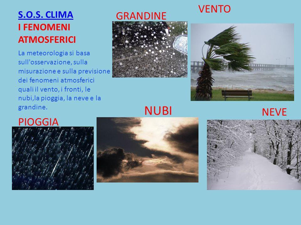 S.O.S. CLIMA S.O.S. CLIMA I FENOMENI ATMOSFERICI La meteorologia si basa sull'osservazione, sulla misurazione e sulla previsione dei fenomeni atmosfer