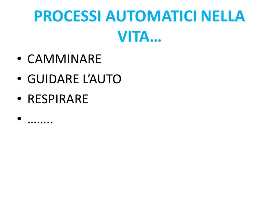 PROCESSI AUTOMATICI NELLA VITA… CAMMINARE GUIDARE LAUTO RESPIRARE ……..