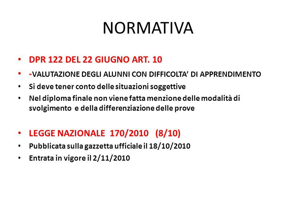NORMATIVA DPR 122 DEL 22 GIUGNO ART.