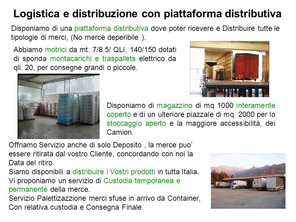 Disponiamo di una piattaforma distributiva dove poter ricevere e Distribuire tutte le tipologie di merci, (No merce deperibile ). Logistica e distribu