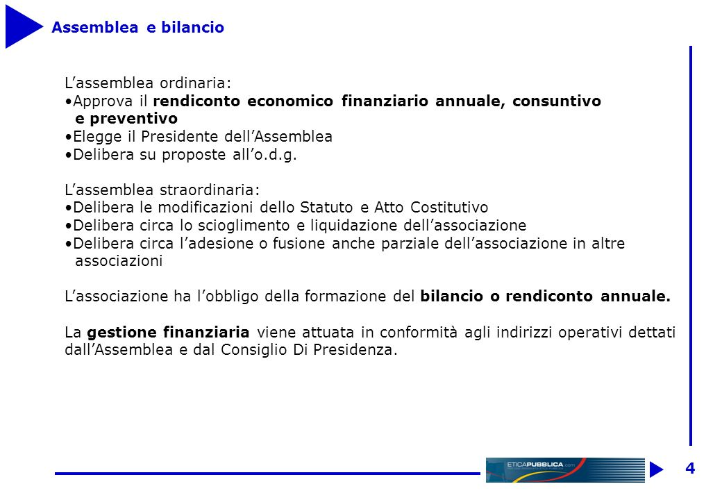 4 Assemblea e bilancio Lassemblea ordinaria: Approva il rendiconto economico finanziario annuale, consuntivo e preventivo Elegge il Presidente dellAssemblea Delibera su proposte allo.d.g.