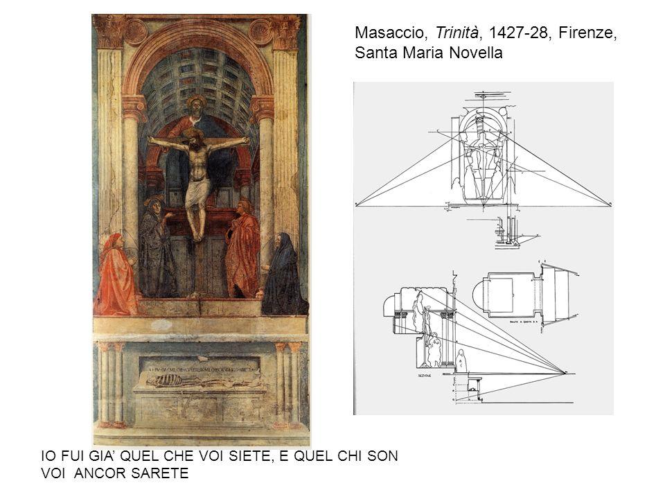 Masaccio, Trinità, 1427-28, Firenze, Santa Maria Novella IO FUI GIA QUEL CHE VOI SIETE, E QUEL CHI SON VOI ANCOR SARETE