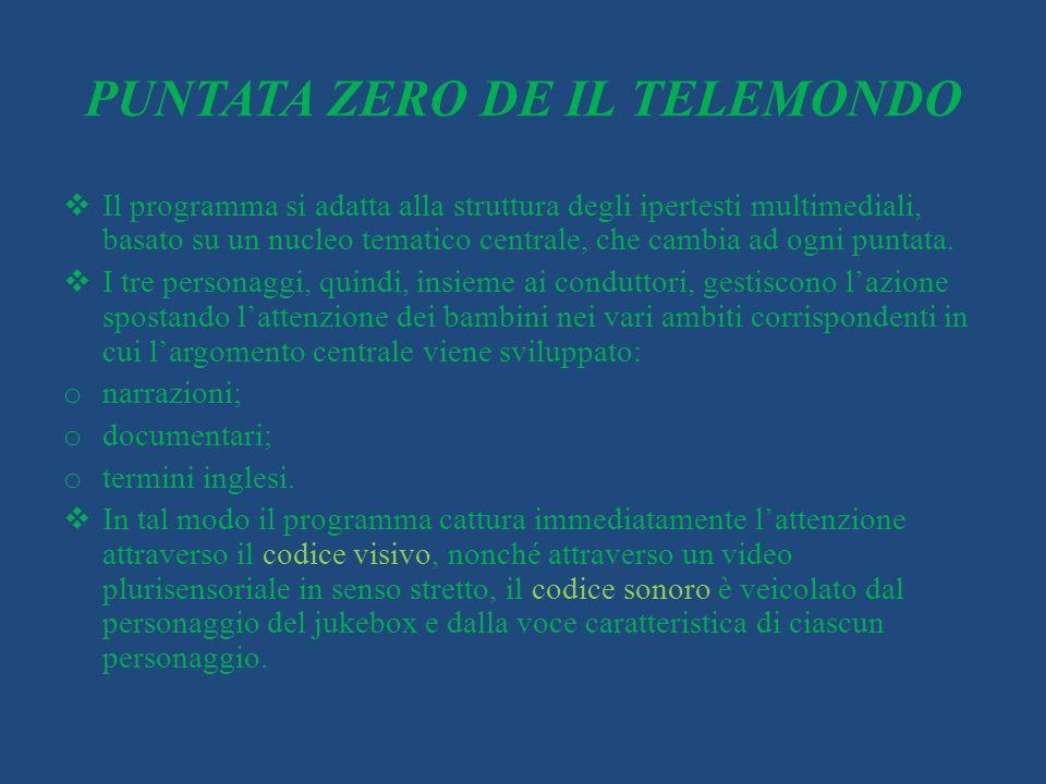 PUNTATA ZERO DE IL TELEMONDO Il programma si adatta alla struttura degli ipertesti multimediali, basato su un nucleo tematico centrale, che cambia ad