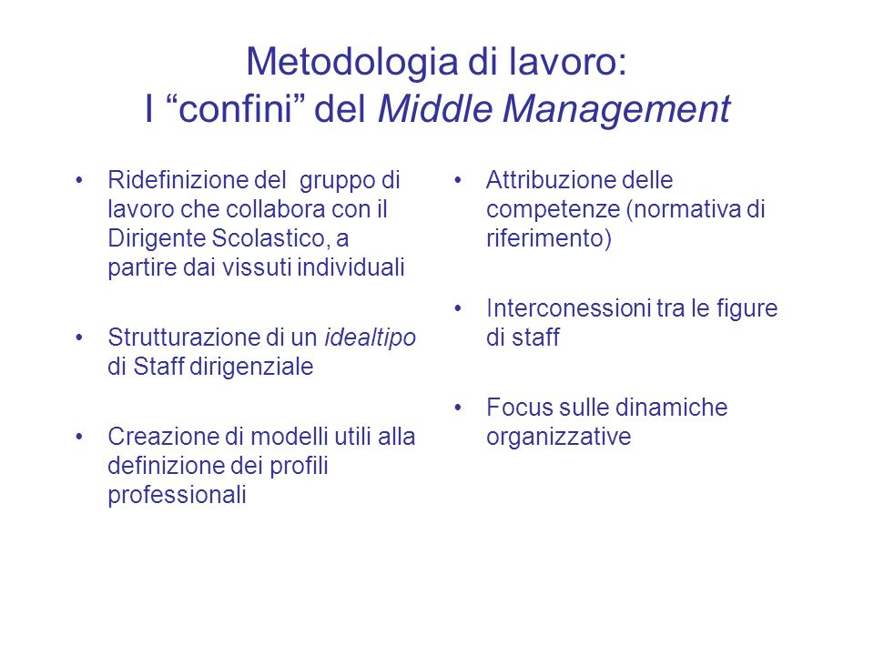 Metodologia di lavoro: I confini del Middle Management Ridefinizione del gruppo di lavoro che collabora con il Dirigente Scolastico, a partire dai vis
