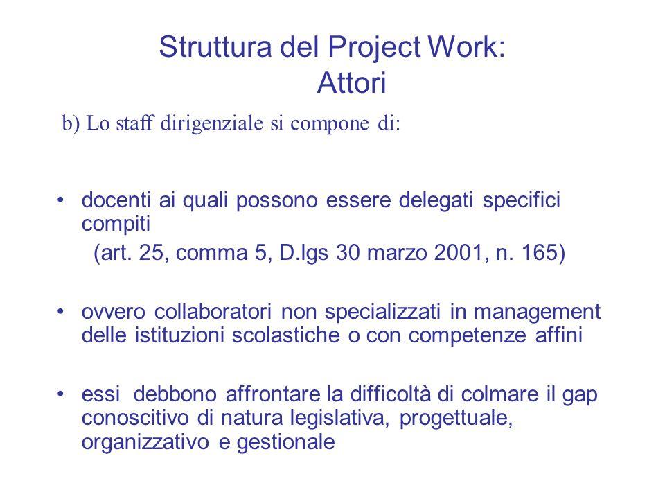 Struttura del Project Work: Attori docenti ai quali possono essere delegati specifici compiti (art. 25, comma 5, D.lgs 30 marzo 2001, n. 165) ovvero c