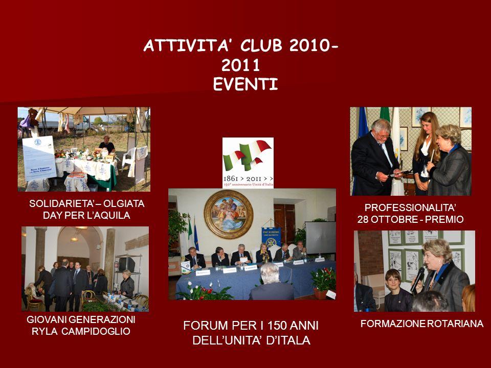 ATTIVITA CLUB 2010- 2011 PROFESSIONALITA 28 OTTOBRE - PREMIO SOLIDARIETA – OLGIATA DAY PER LAQUILA GIOVANI GENERAZIONI RYLA CAMPIDOGLIO FORMAZIONE ROT