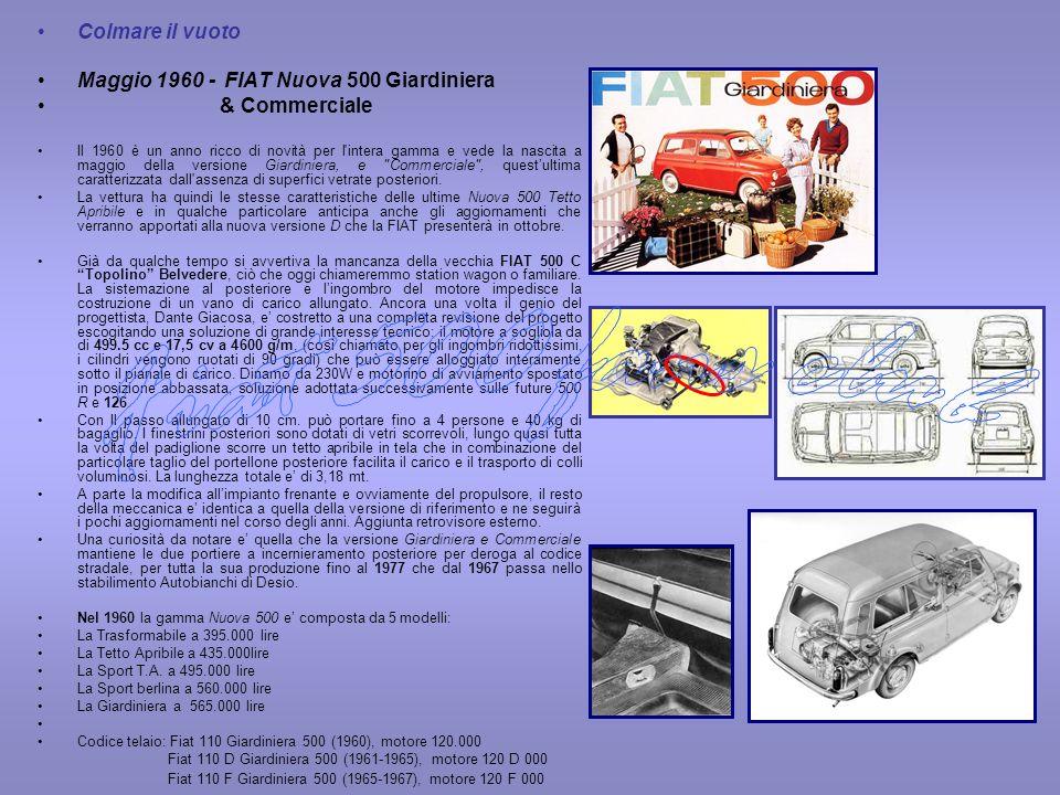 Colmare il vuoto Maggio 1960 - FIAT Nuova 500 Giardiniera & Commerciale Il 1960 è un anno ricco di novità per l'intera gamma e vede la nascita a maggi