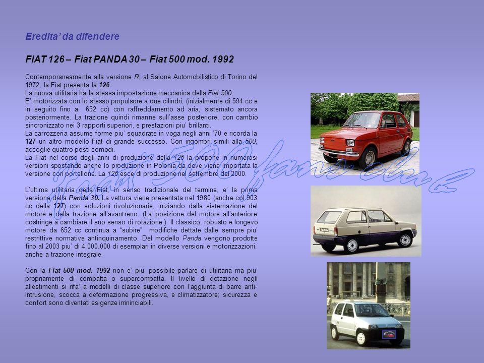 Eredita da difendere FIAT 126 – Fiat PANDA 30 – Fiat 500 mod. 1992 Contemporaneamente alla versione R, al Salone Automobilistico di Torino del 1972, l