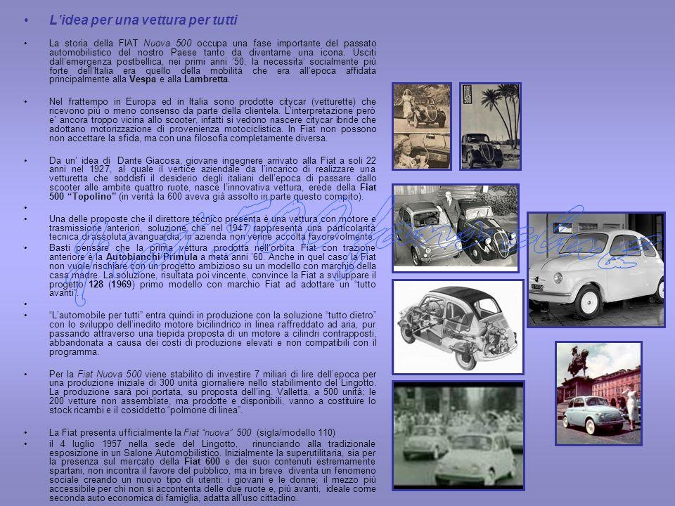 Lidea per una vettura per tutti La storia della FIAT Nuova 500 occupa una fase importante del passato automobilistico del nostro Paese tanto da divent