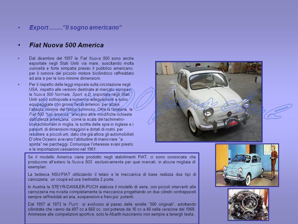Export …….Il sogno americano Fiat Nuova 500 America Dal dicembre del 1957 le Fiat Nuova 500 sono anche esportate negli Stati Uniti via mare, suscitand
