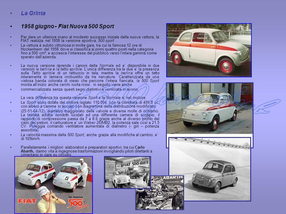 Il Successo 1959 marzo - FIAT Nuova 500 Tetto Apribile FIAT Nuova 500 Trasformabile La 500 Normale rimane in produzione fino al marzo 1959 quando al salone di Ginevra la FIAT introduce la Nuova 500 Tetto Apribile (t.a.), la 500 Economica invece cambia denominazione in Trasformabile e affianchera la t.a.