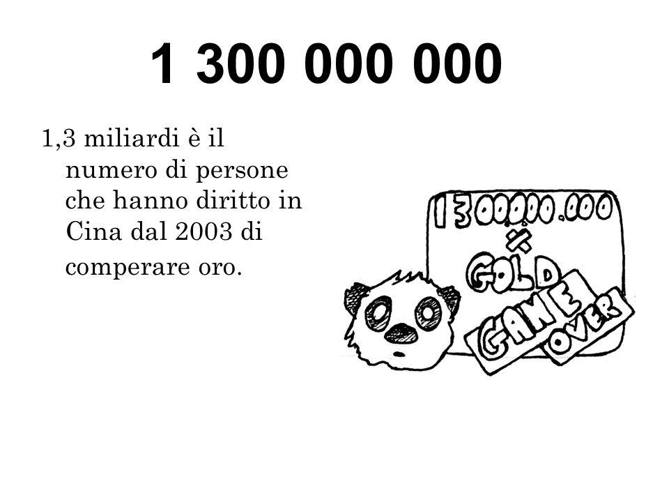 1 300 000 000 1,3 miliardi è il numero di persone che hanno diritto in Cina dal 2003 di comperare oro.