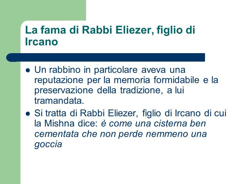 La fama di Rabbi Eliezer, figlio di Ircano Un rabbino in particolare aveva una reputazione per la memoria formidabile e la preservazione della tradizi