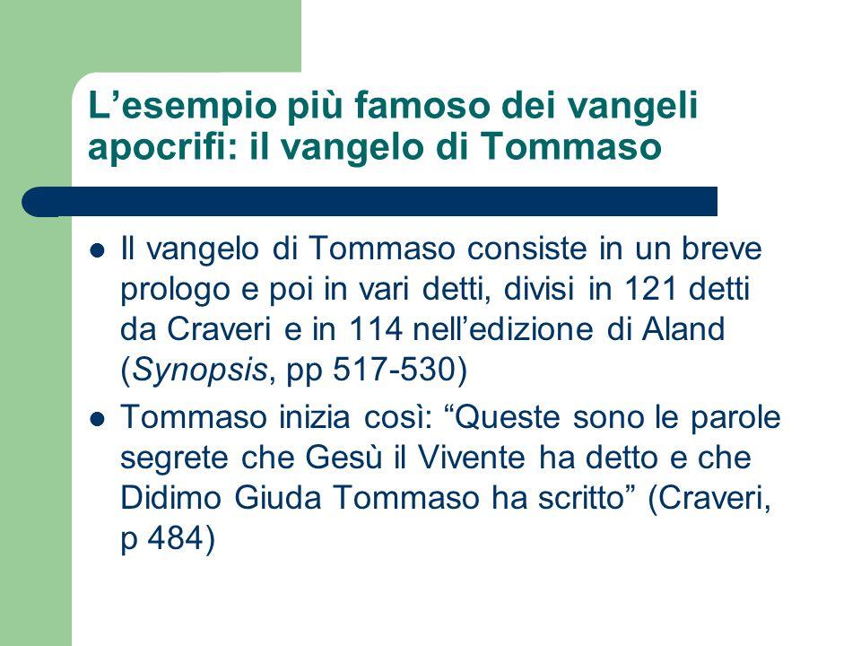 Lesempio più famoso dei vangeli apocrifi: il vangelo di Tommaso Il vangelo di Tommaso consiste in un breve prologo e poi in vari detti, divisi in 121